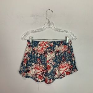 Free People Shorts - Free People floral print flowy shorts pink & blue